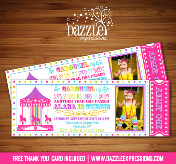 Carousel Ticket Invitation 8 - FREE thank you card included
