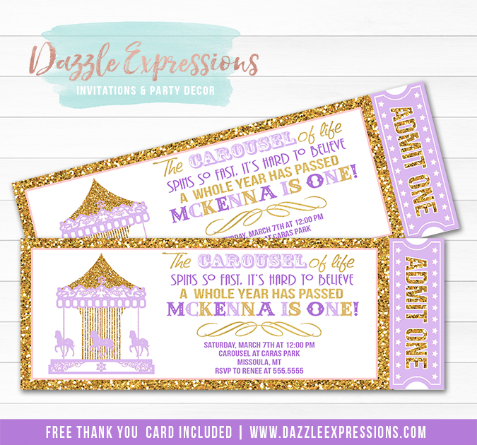 Carousel Ticket Invitation 11 - FREE Thank You Card Included