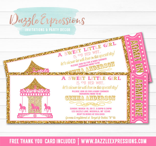 Printable pink and gold glitter carousel ticket baby shower carousel ticket baby shower invitation free thank you card inclided filmwisefo Gallery