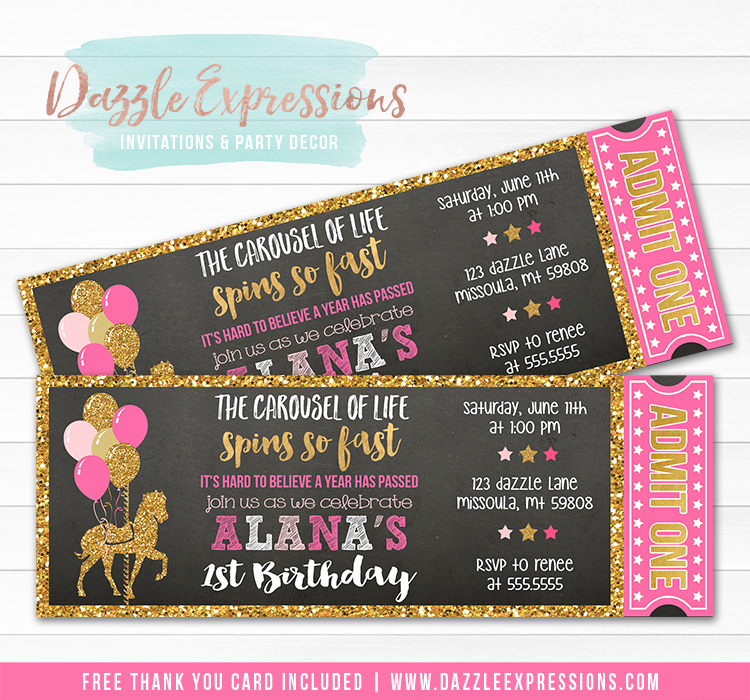 Carousel Chalkboard Ticket Invitation 1 - FREE thank you card included