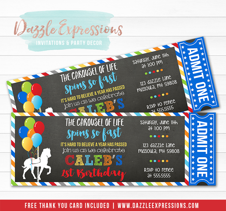 Carousel Chalkboard Ticket Invitation 3 - FREE thank you card included