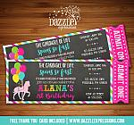 Carousel Chalkboard Ticket Invitation 4 - FREE thank you card included