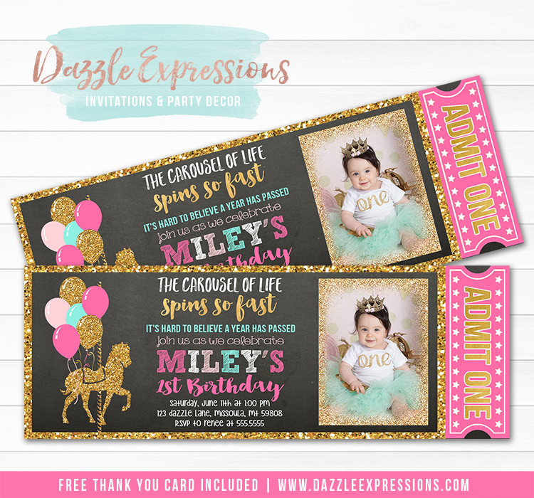 Carousel Chalkboard Ticket Invitation 6 - FREE thank you card
