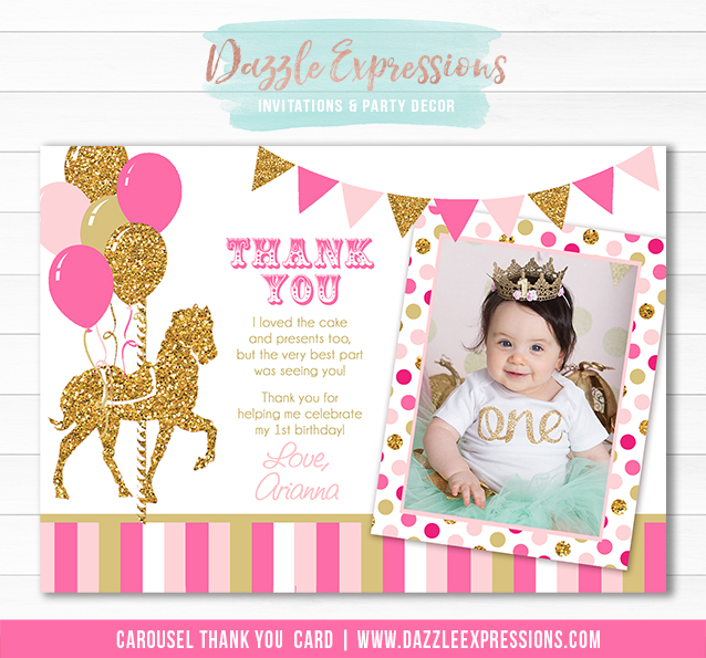 Carousel - Pink and Gold Thank You Card