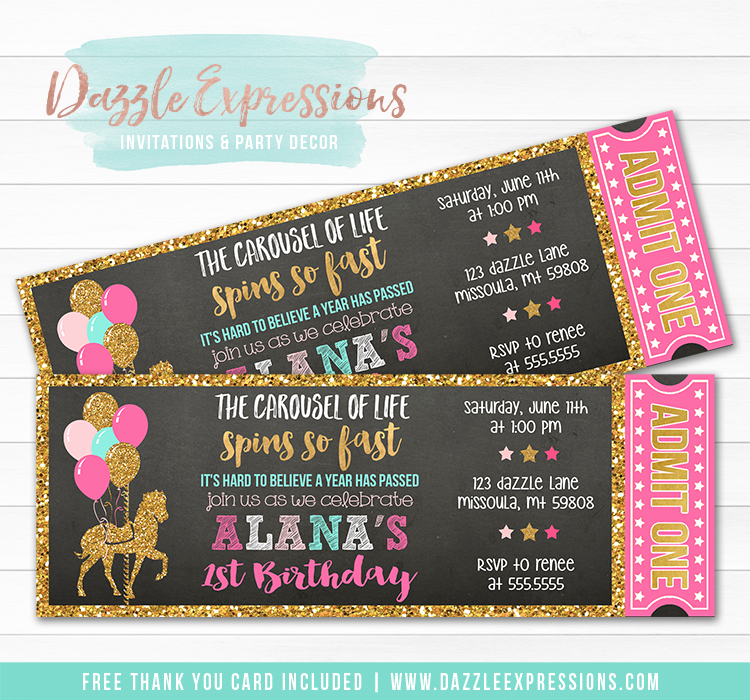 Carousel Chalkboard Ticket Invitation 2 - FREE thank you card included