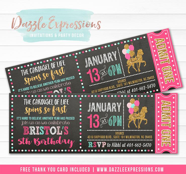 Carousel Chalkboard Ticket Invitation 5 - FREE thank you card