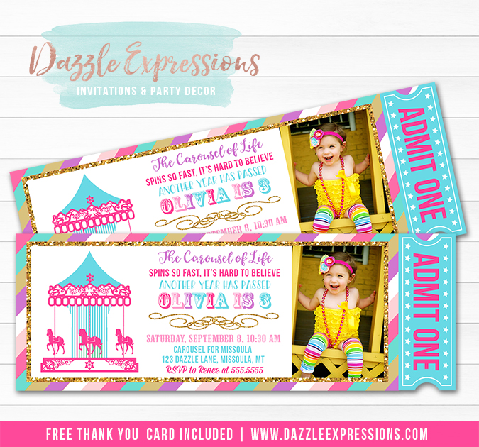 Carousel Ticket Invitation 9 - FREEThank You Card Included