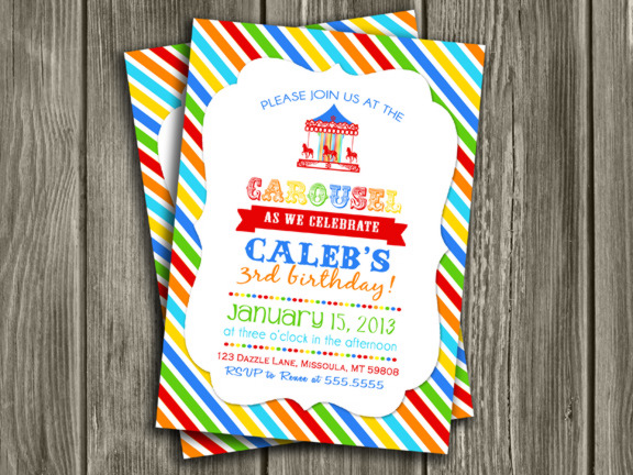 Printable Boy Carousel Birthday Invitation Merry Go Round