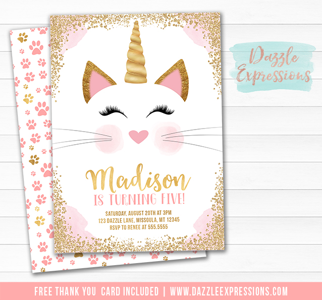 Caticorn Birthday Invitation 1 - FREE thank you card