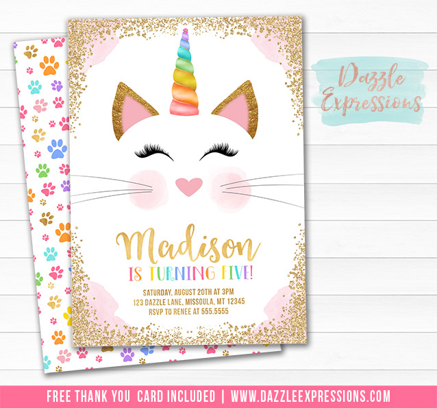 Caticorn Birthday Invitation 2 - FREE thank you card