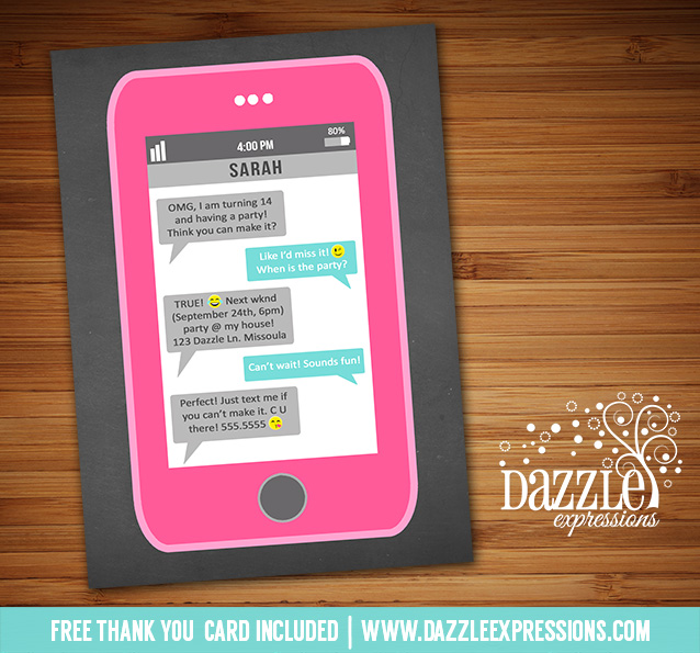 Printable cell phone text message chalkboard birthday invitation cell phone text invitation 1 free thank you card bookmarktalkfo Image collections