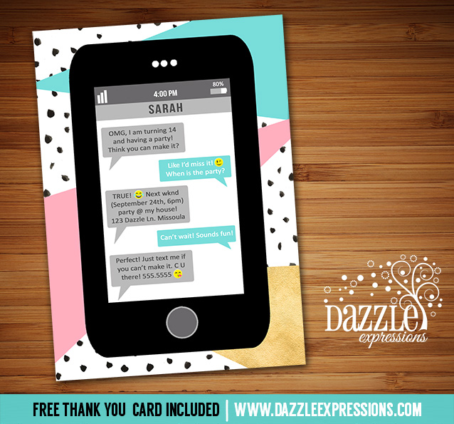 Printable cell phone text message birthday invitation abstract cell phone text invitation 2 free thank you card filmwisefo Images