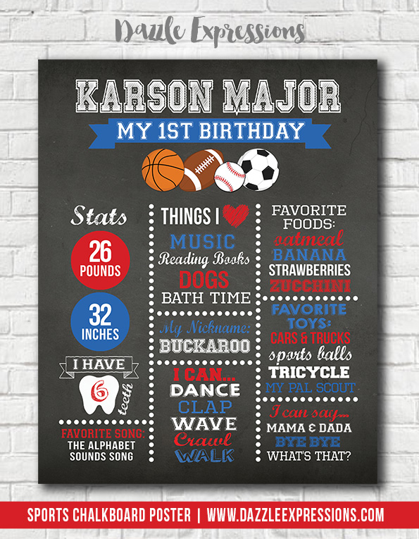 Printable Sports Chalkboard Poster