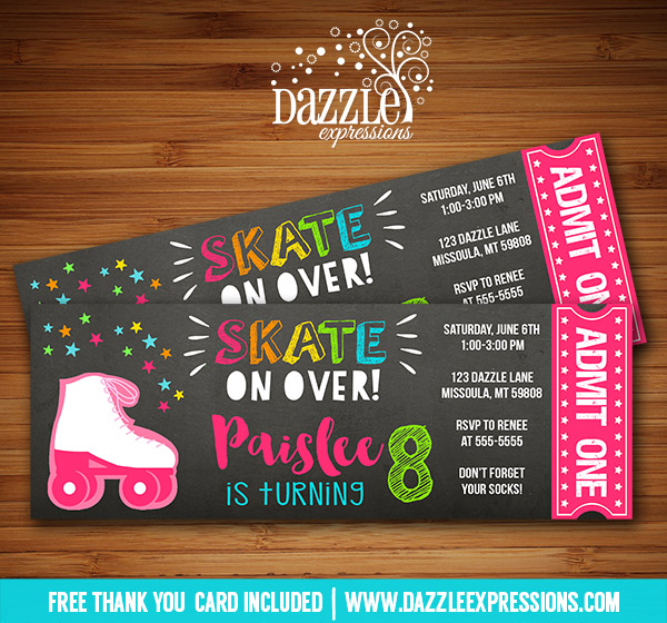 Roller Skating Chalkboard Ticket Invitation 5 - FREE thank you card