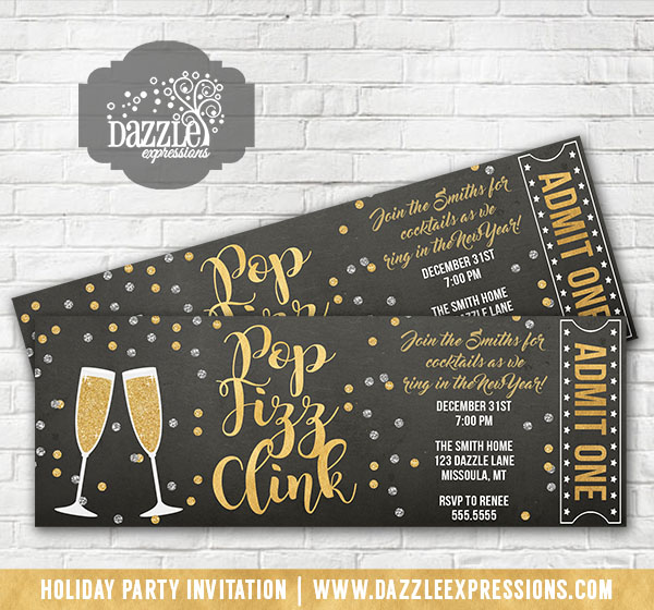 Champagne Chalkboard Ticket Invitations