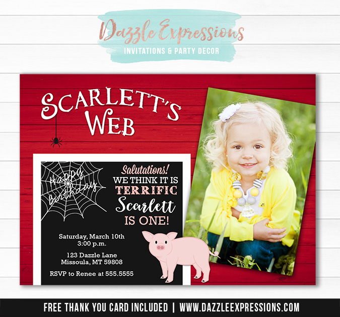 Charlottes Web Inspired Birthday Invitation - FREE thank you card included