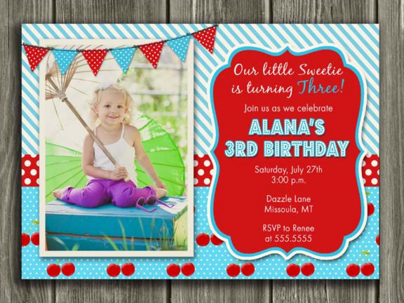 Cherry Birthday Invitation - Thank you card included