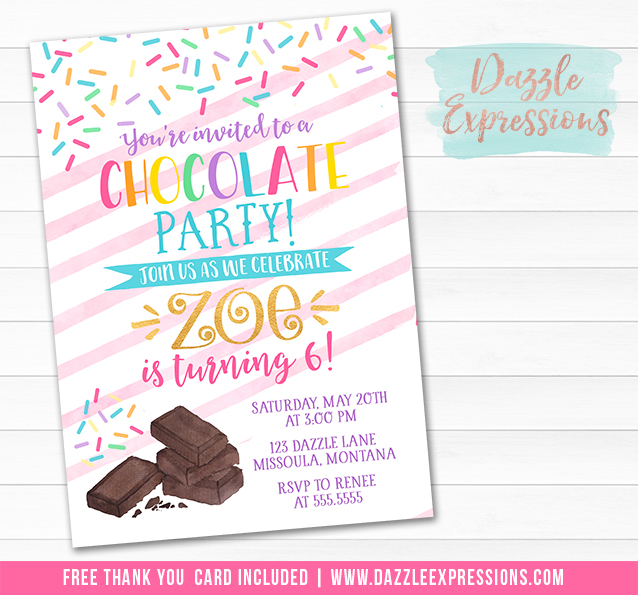 Chocolate Party Invitation - FREE thank you card