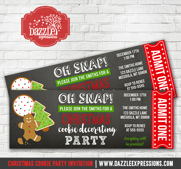 Christmas Cookie Decorating Party Ticket Invitation 1  Party Ticket Invitations