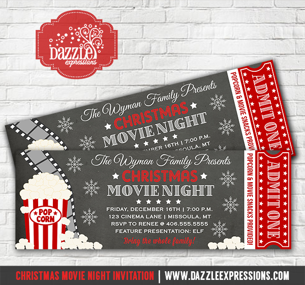 Printable Christmas Movie Night Chalkboard Ticket Invitation  Movie