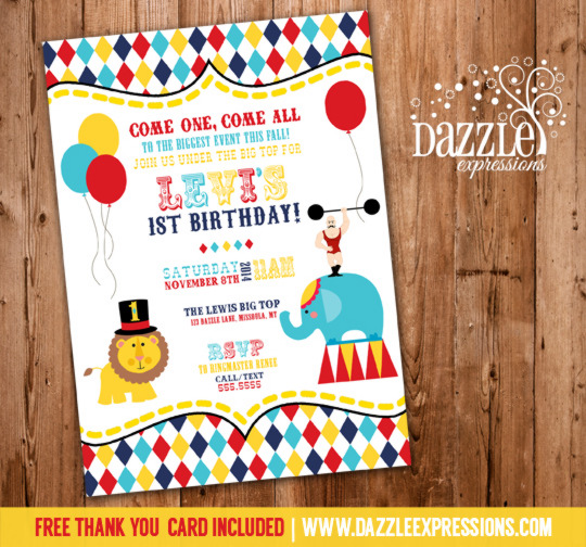 Circus or Carnival Birthday Invitation 4 - FREE thank you card included