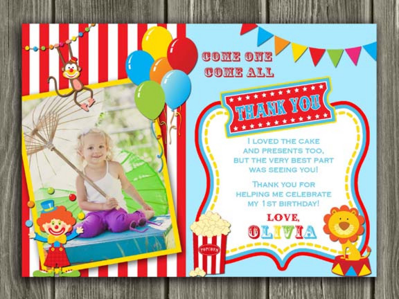 Circus Thank You Card 1 - Printable