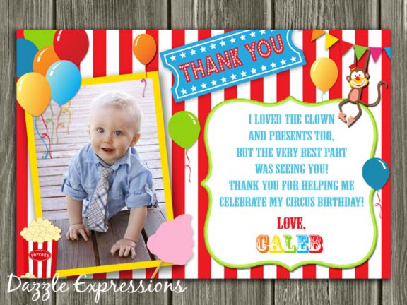 Circus Thank You Card 2 - Printable
