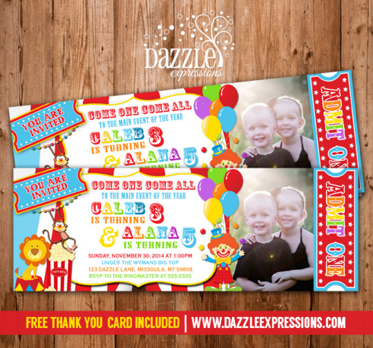 Circus Ticket Double Party Invitation - FREE thank you card