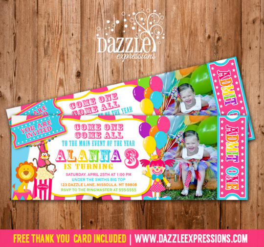 Girl Circus Ticket Birthday Invitation - FREE thank you card included