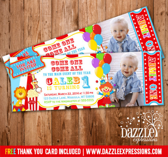 Circus Ticket First Birthday Photo Invitation Carnival - Birthday invitation cards circus