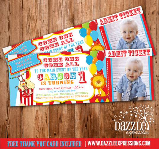 Circus Ticket Birthday Photo Invitation Printable Thank You - Birthday invitation cards circus