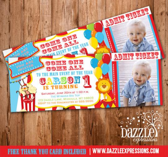 Circus Ticket Birthday Photo Invitation Printable Thank You Card