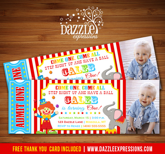 Circus Ticket Birthday Invitation 2