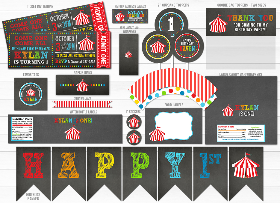 Circus Chalkboard Ticket Invitation 1 - FREE thank you card included