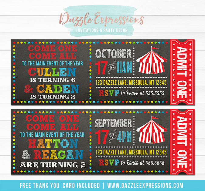 Circus Chalkboard Ticket Invitation - Twins or Double Party - FREE thank you card included