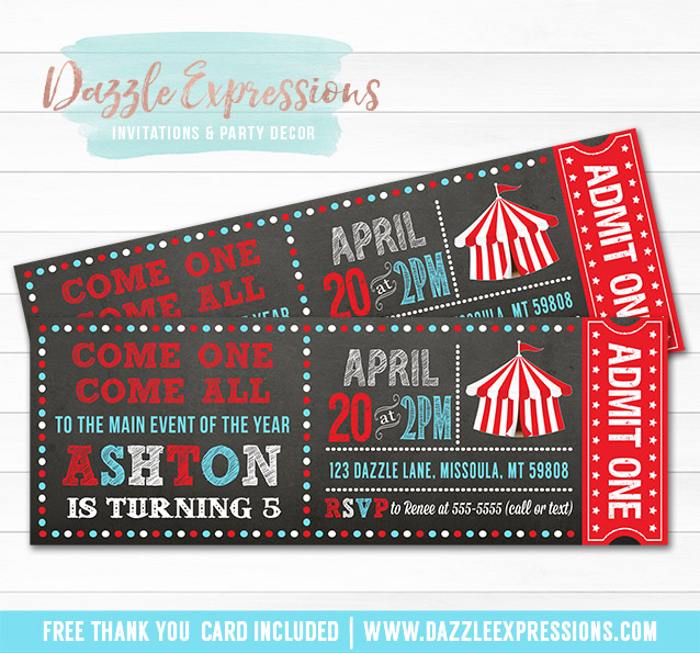Printable Circus Or Carnival Chalkboard Ticket Birthday Invitation