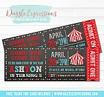 Circus Chalkboard Ticket Invitation 2 - FREE thank you card included