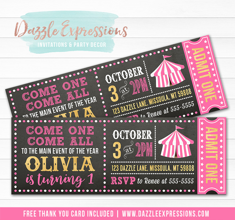 Circus Chalkboard Ticket 3 - FREE thank you card