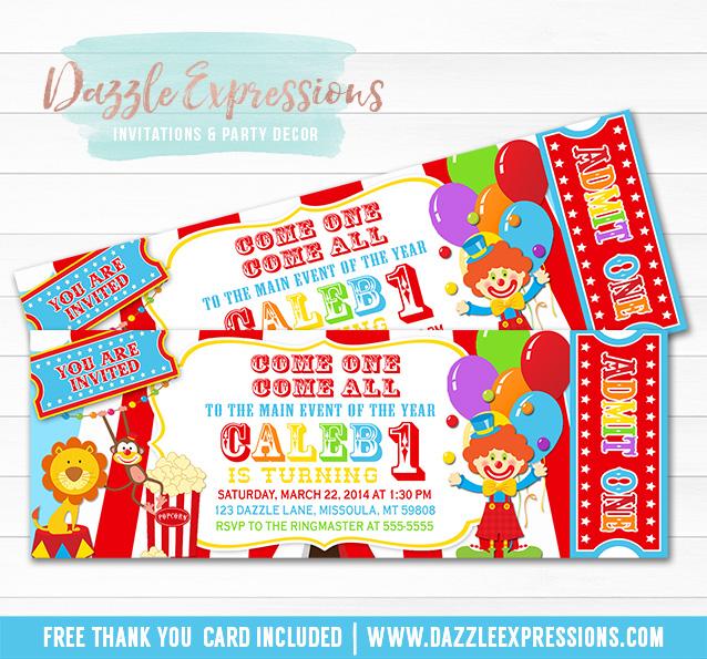 Circus Ticket Birthday Invitation 5
