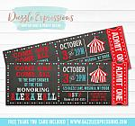 Circus Chalkboard Ticket Baby Shower Invitation - FREE thank you card included