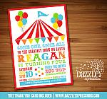 Circus or Carnival Birthday Invitation 6 - FREE thank you card included6