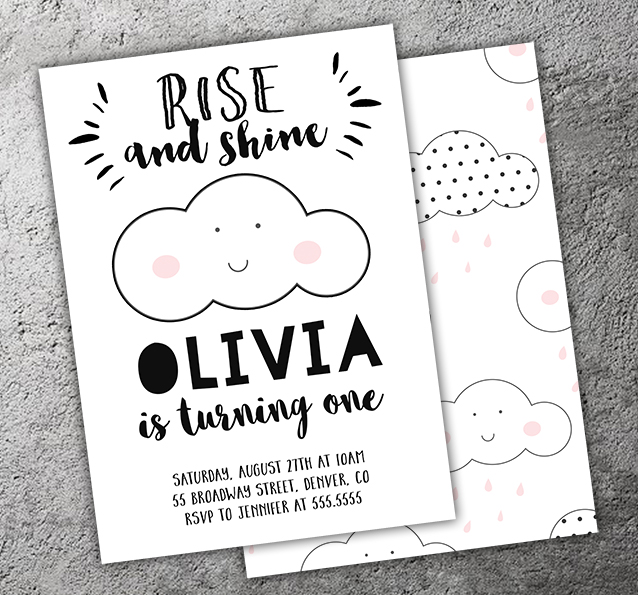 Cloud Rise and Shine Invitation - FREE thank you card included