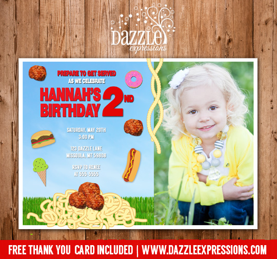 Food Falling Birthday Invitation - FREE thank you card included