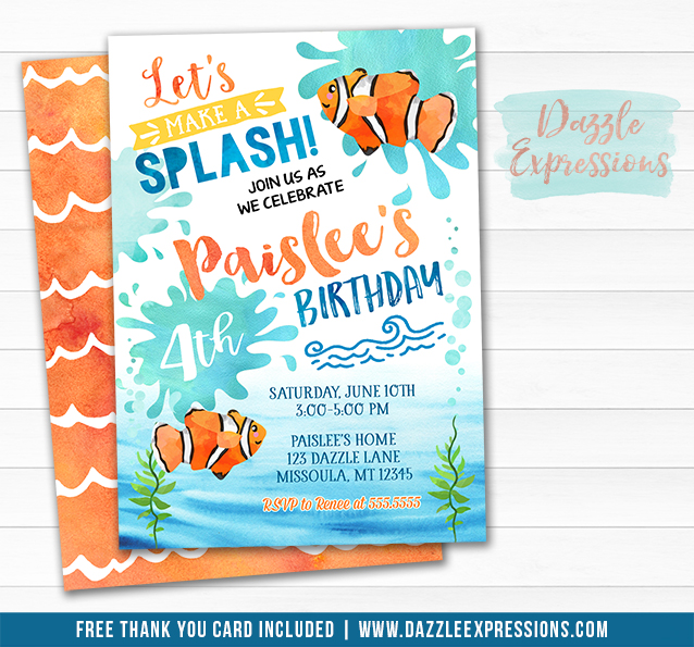 Printable Clown Fish Watercolor Birthday Invitation
