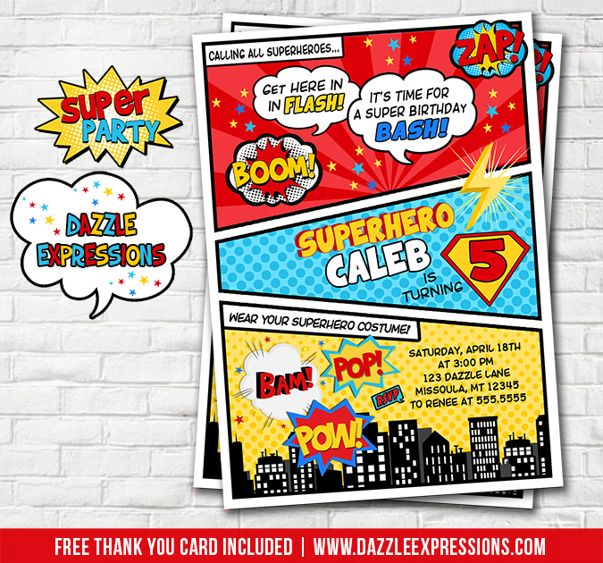 Printable Superhero Party Comic Book Birthday Invitation