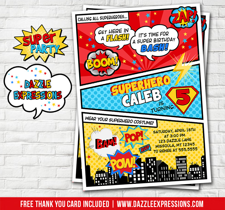 Superhero Comic Birthday Invitation 3