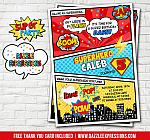 Superhero Comic Birthday Invitation 3 - FREE thank you card
