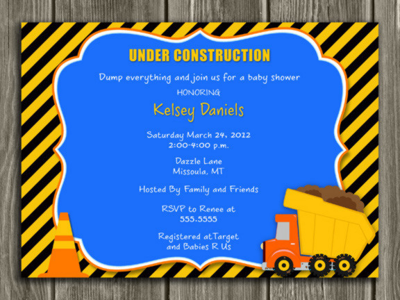 Construction Baby Shower Invitation - Thank you card included