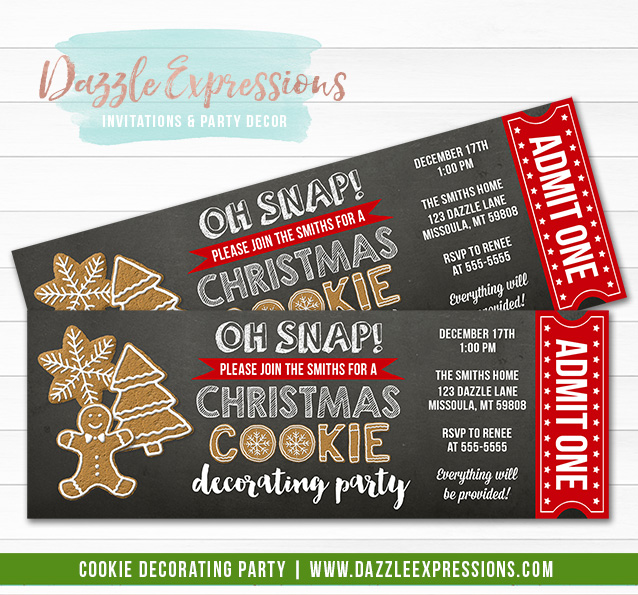 Christmas Cookie Decorating Party Ticket Invitation 2