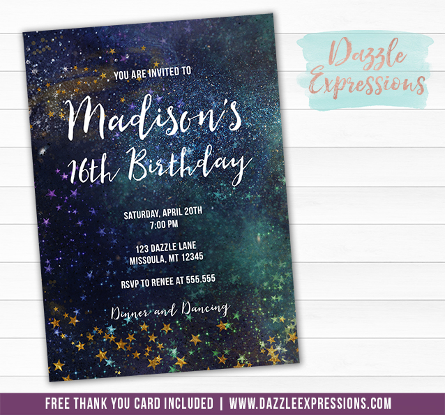 Cosmic Space Invitation 1 - FREE thank you card included